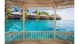 Фототапети дървена тераса с изглед Бора Бора вили