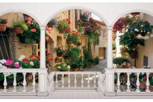 Фототапети тераса ретро улица с цветя