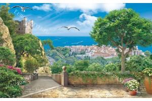 Фототапети 3д изглед замък и морски пейзаж със стълби