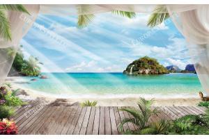 Фототапети 3д изглед тераса и острови с флора цветя