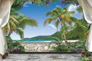 Фототапети 3д изглед тераса с море палми и люляк