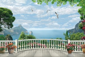 Фототапети 3д изглед тераса морски бряг и саксии цветя