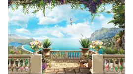 Фототапети 3д прекрасна морска тераса с пъстри цветя