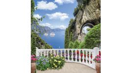 Фототапети изглед през тераса на море и скален тунел
