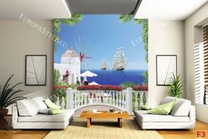 Фототапети морска тераса с палмови листа и кораби