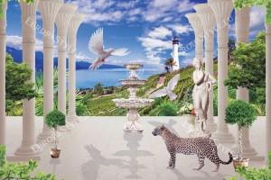 Фототапети 3д морски пейзаж колонода с леопард