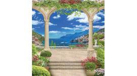 Фототапети 3d морски изглед през арка на красив град