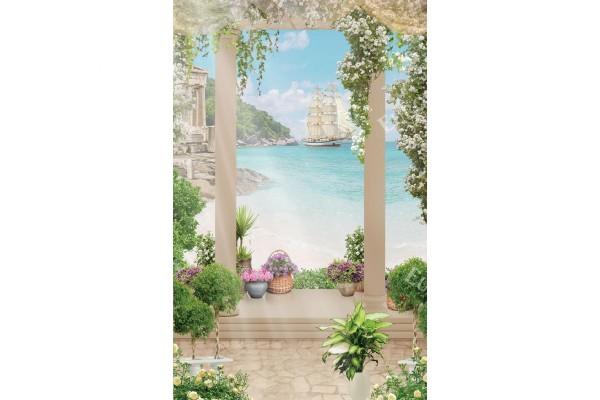 Фототапети 3д изглед през колони с бели цветя и кораб с платна