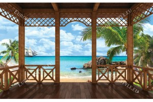 Фототапети 3D тропическа гледка на море палми веранда