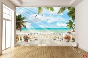 Фототапети 3d морски изглед с палми овален парапет 2