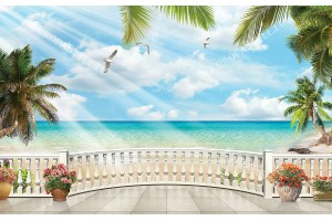 3d морски изглед с палми овален парапет 2