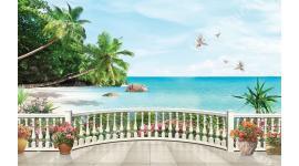 Фототапети 3d морски изглед палми през парапет