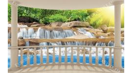 овална тераса с изглед син водопад каскада