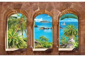 Фото тапети 3Д морска гледка с палми изглед каменни сводове