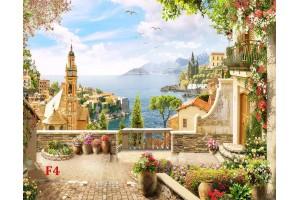 Фото тапети 3д антична морска тераса с часовникова кула