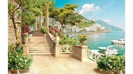 Фототапет средиземноморски пейзаж с яхти и колони