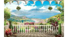 приказна гледка от тераса с цветя море и остров