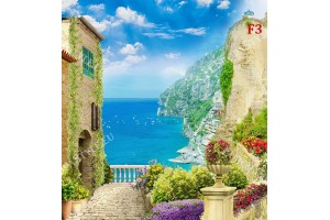 Фототапети 3д уникална гледка от средиземноморски къщи към морето