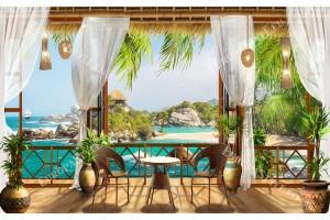 уникална гледка от веранда към остров и палми