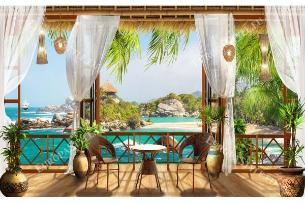 Фототапет уникална гледка от веранда към остров и палми