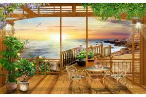Фототапети 3d изглед дървена веранда с мостик на плажа и масичка