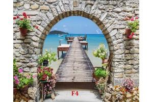 Фототапети 3Д ефект морски изглед с арка и мостик