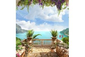 Фототапети 3Д ефект романтичен морски изглед от тераса с воали