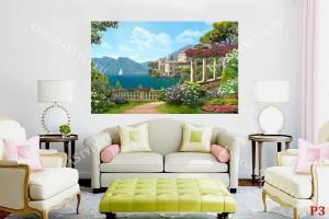 Фототапети 3Д ефект композиция средиземноморски изглед с колонада и вила