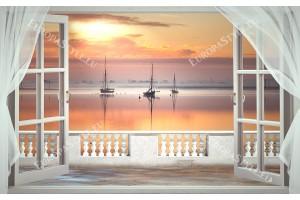 романтичен залез с кораби гледка от тераса с воали