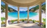 Фототапети тераса свод колони с пейзаж морски залив