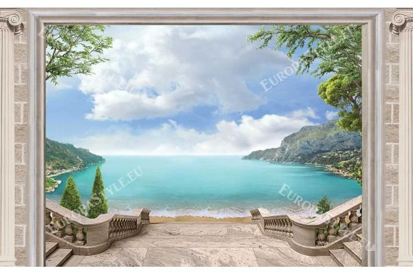 Фототапети лазурен морски пейзаж класически колони