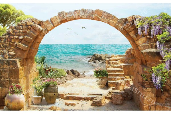 Фототапети морски пейзаж с цветя през каменна арка