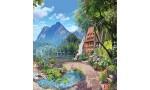 Фототапет уникален 3д ефект пейзаж с езеро и вили с градина