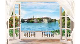 Фототапет 3д ефект гледка на старинен морски град през прозорец