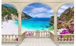 Фототапет морски залив пейзаж с тераса в 2 цвята