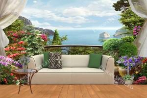 Фототапет панорамна морска тераса с много цветя и воали