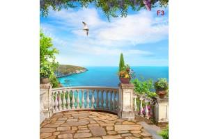 Фототапет 3д визуализиран красив морски пейзаж с тераса овал