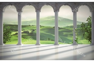 Фототапети 3д колони със зелени поляни Тоскана