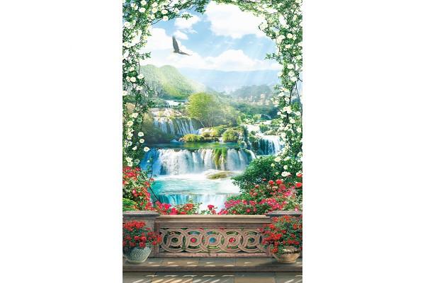 Фототапети 3д тераса с арка цветя и водопад