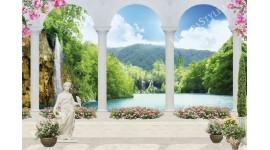 Фототапети 3д водопад изглед през колони със статуи и цветя
