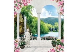Фототапети водопад малък размер през колони със статуи и цветя