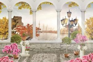 Фототапети 3д изглед през колони на старинен град и мост