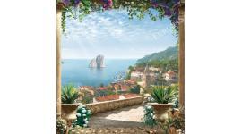 Фототапети изглед през колони с цветя на старинен град и бряг