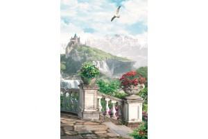 Фототапети 3д тераса красив изглед с замък и водопад