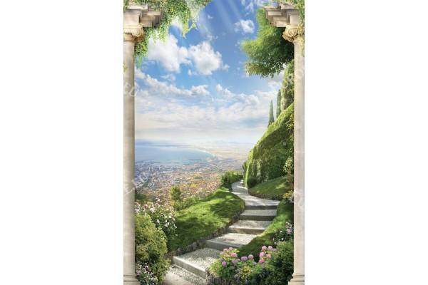 Фототапети 3д изглед антична градина със стълби и цветя