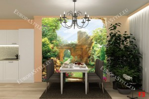 Фототапети изглед на красива градина с руини