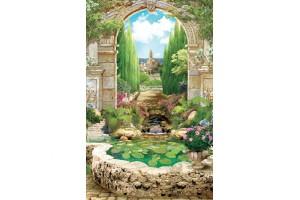 Фототапети арка изглед красив парк с фонтан