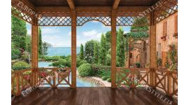 Фототапети веранда на морска вила и градина