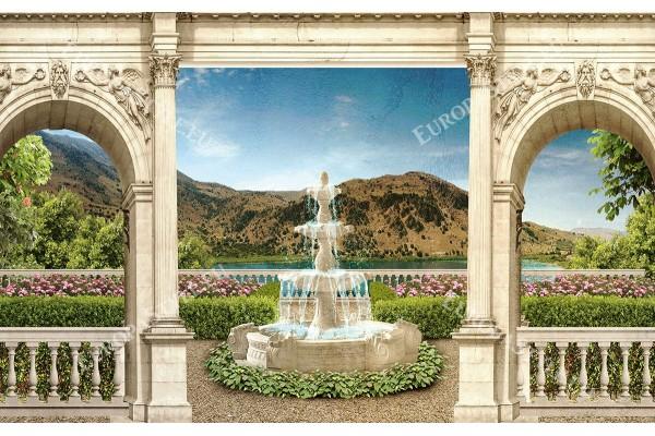 Фототапет 3д прекрасна гледка на градина с фонтан през колони