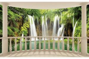 овална тераса с изглед горски водопади